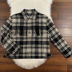 Polo Ralph Lauren Plaid Wool Fringe Jacket Coat